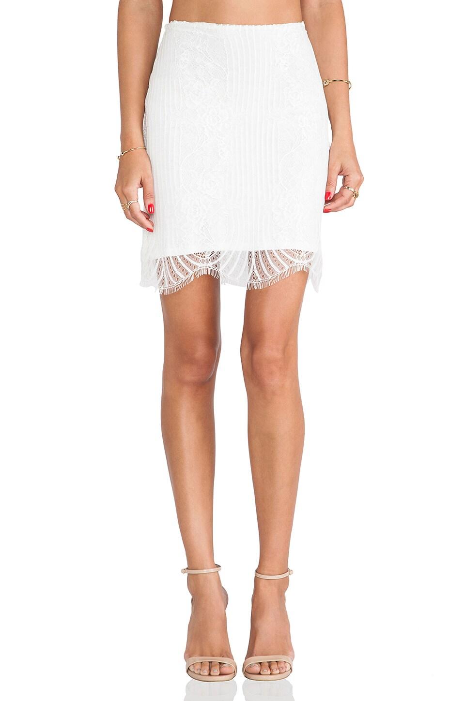 For Love & Lemons Lolo Mini Skirt in White