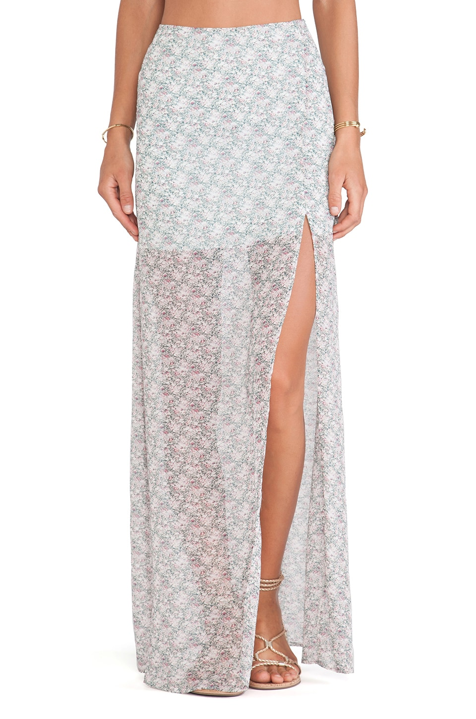 For Love & Lemons Midnight Cowgirl Skirt in Sage Floral