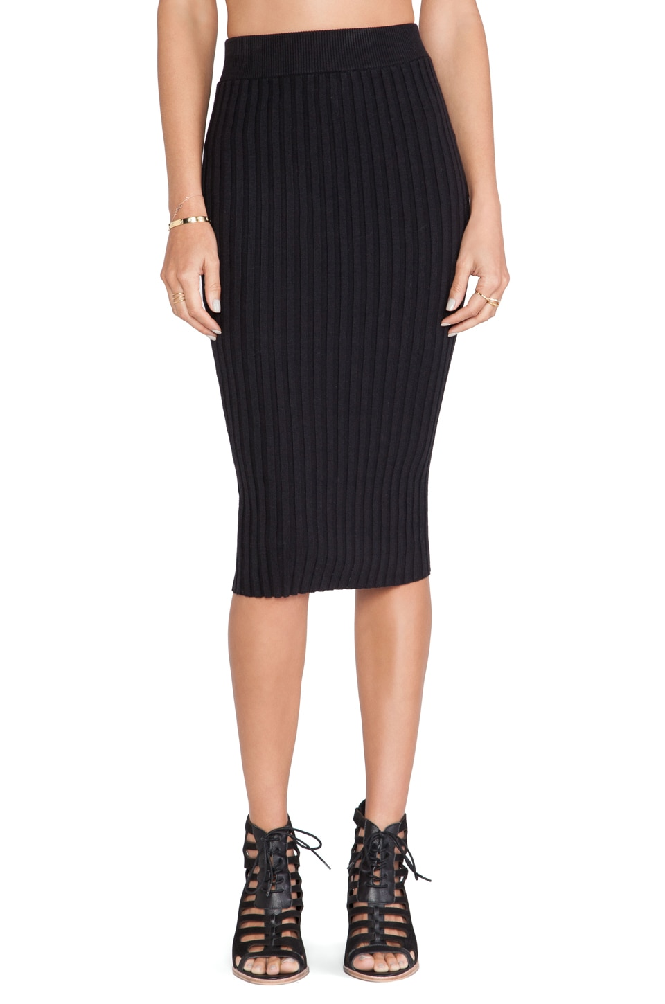 For Love & Lemons Back to Basics Pencil Skirt in Black