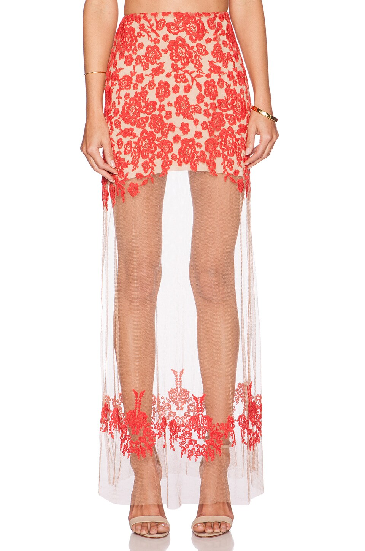 c0f266d27d For Love & Lemons Luau Maxi Skirt in Red & Nude | REVOLVE