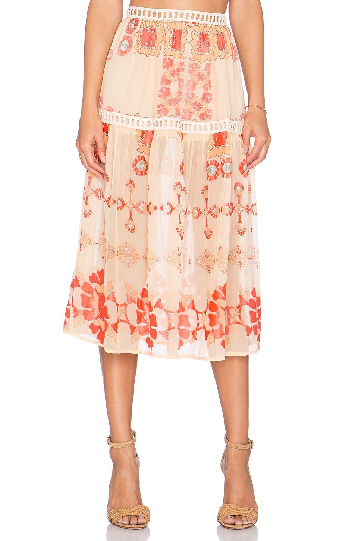 For Love & Lemons Barcelona Midi Skirt in Creme
