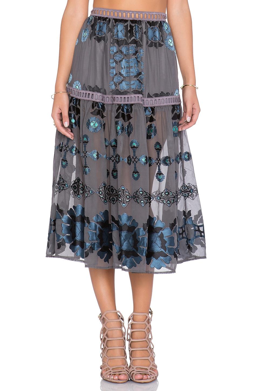 For Love & Lemons Barcelona Midi Skirt in Black & Blue