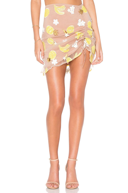 For Love & Lemons Fruitpunch Shirred Mini Skirt in Pineapple