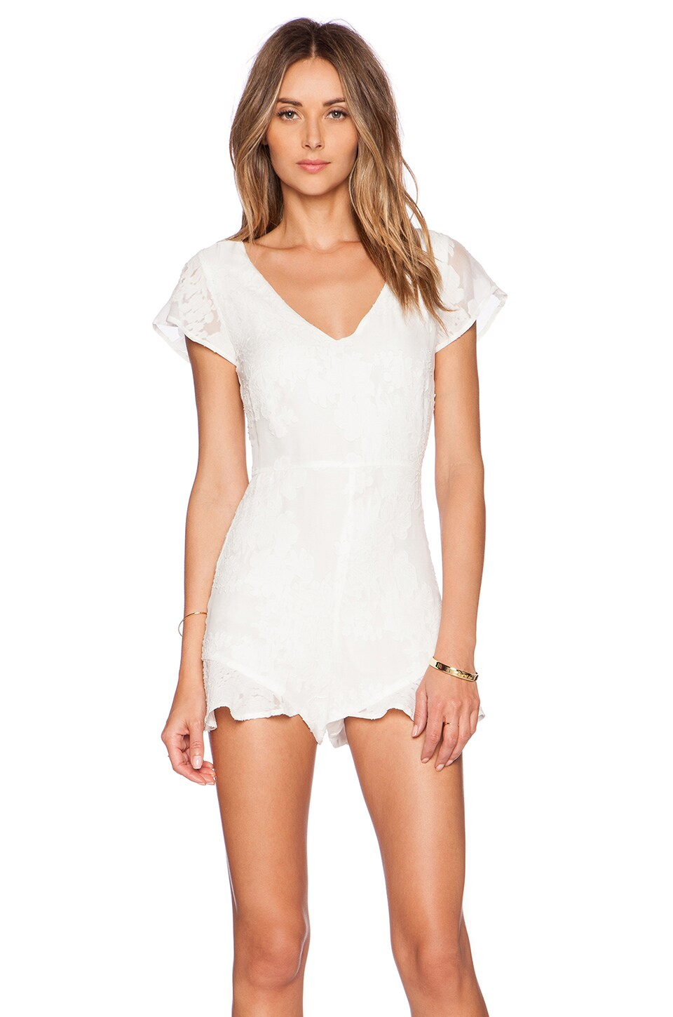For Love & Lemons Pina Colada Romper in White