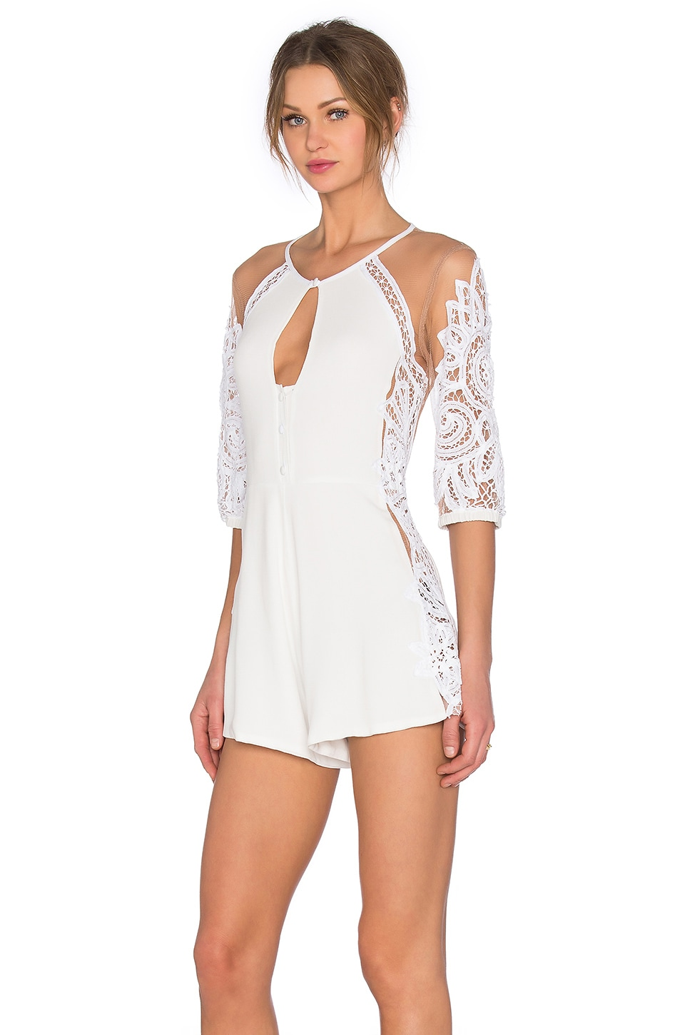 For Love & Lemons Valentina Romper in White