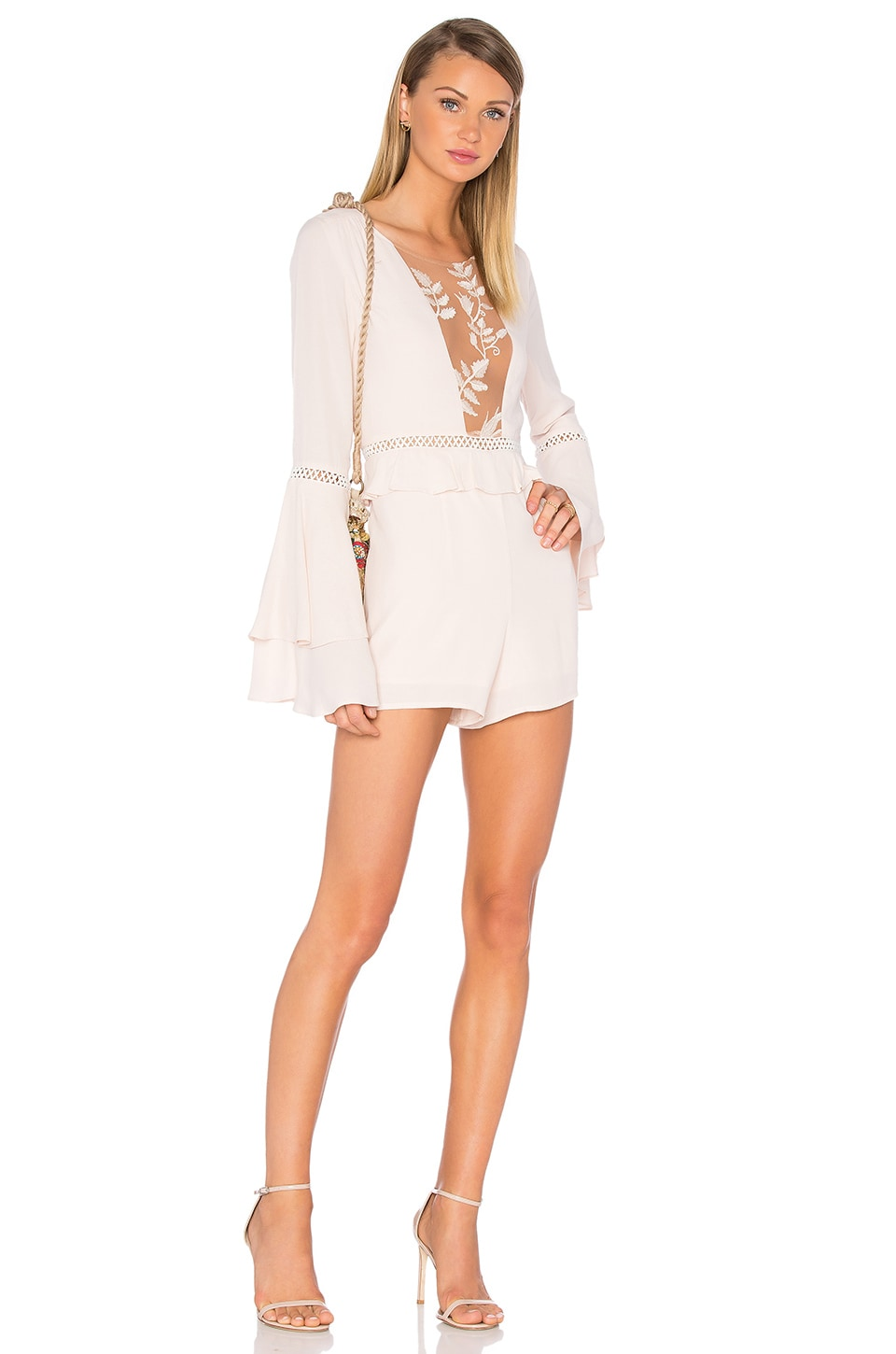 For Love & Lemons Emelia Romper in Dusty Pink