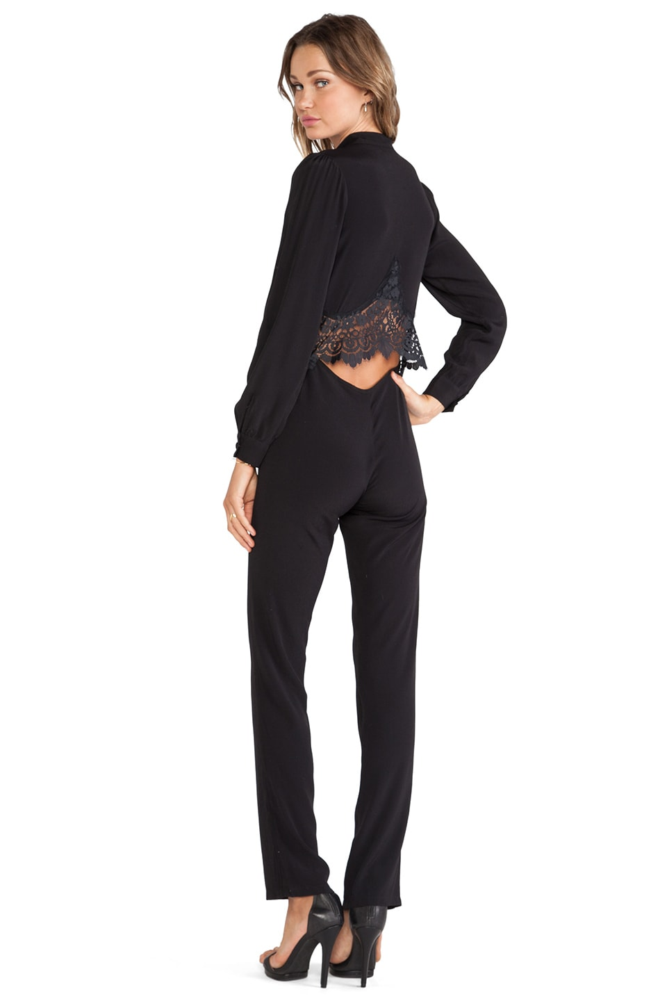 For Love & Lemons Bourbon Jumpsuit in Black