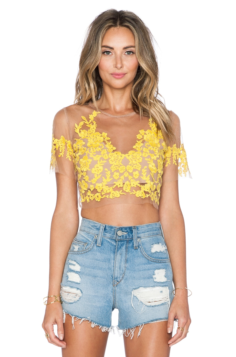 For Love & Lemons Luau Crop Top in Primrose & Nude