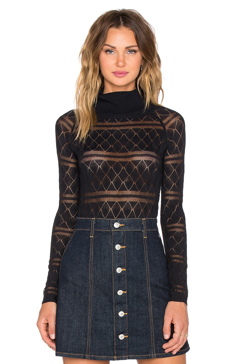 For Love & Lemons Stevie Knit Bodysuit in Black