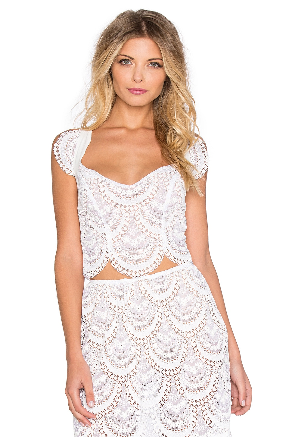 For Love & Lemons Rosalita Crop Top in White