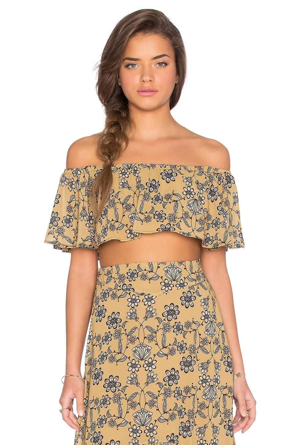 For Love & Lemons Pia Crop Top in Mustard