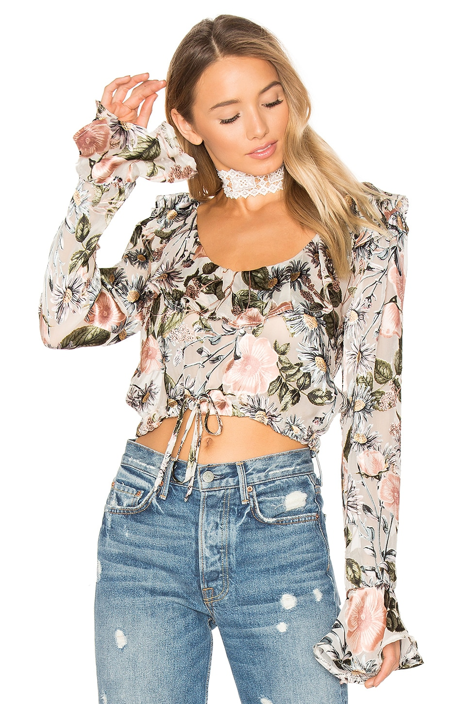 For Love & Lemons Luciana Ruffle Blouse in Ivory Floral