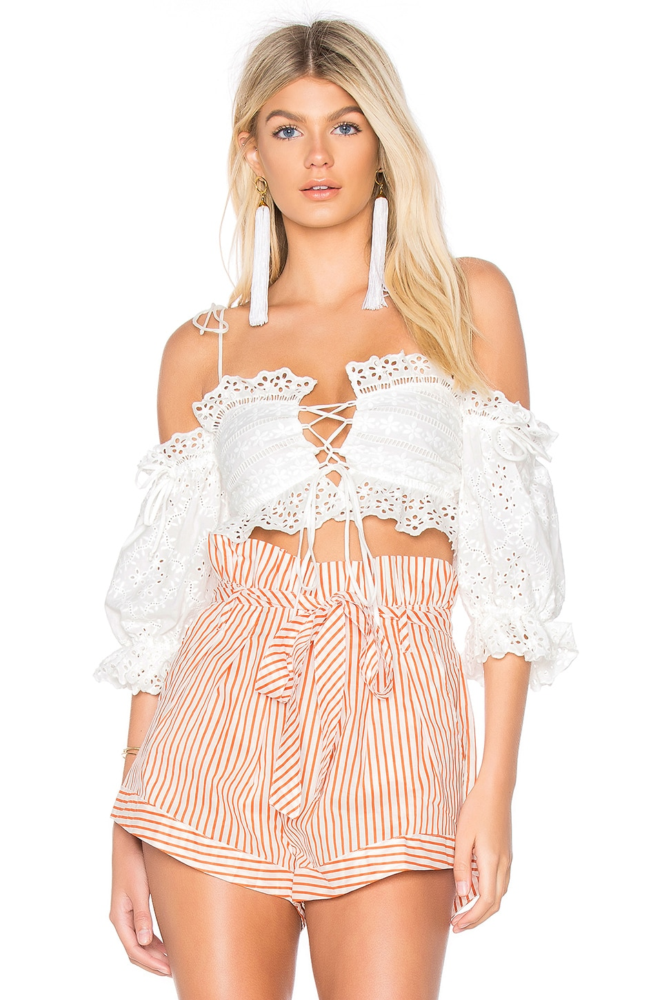 For Love & Lemons Anabelle Eyelet Crop Top in White