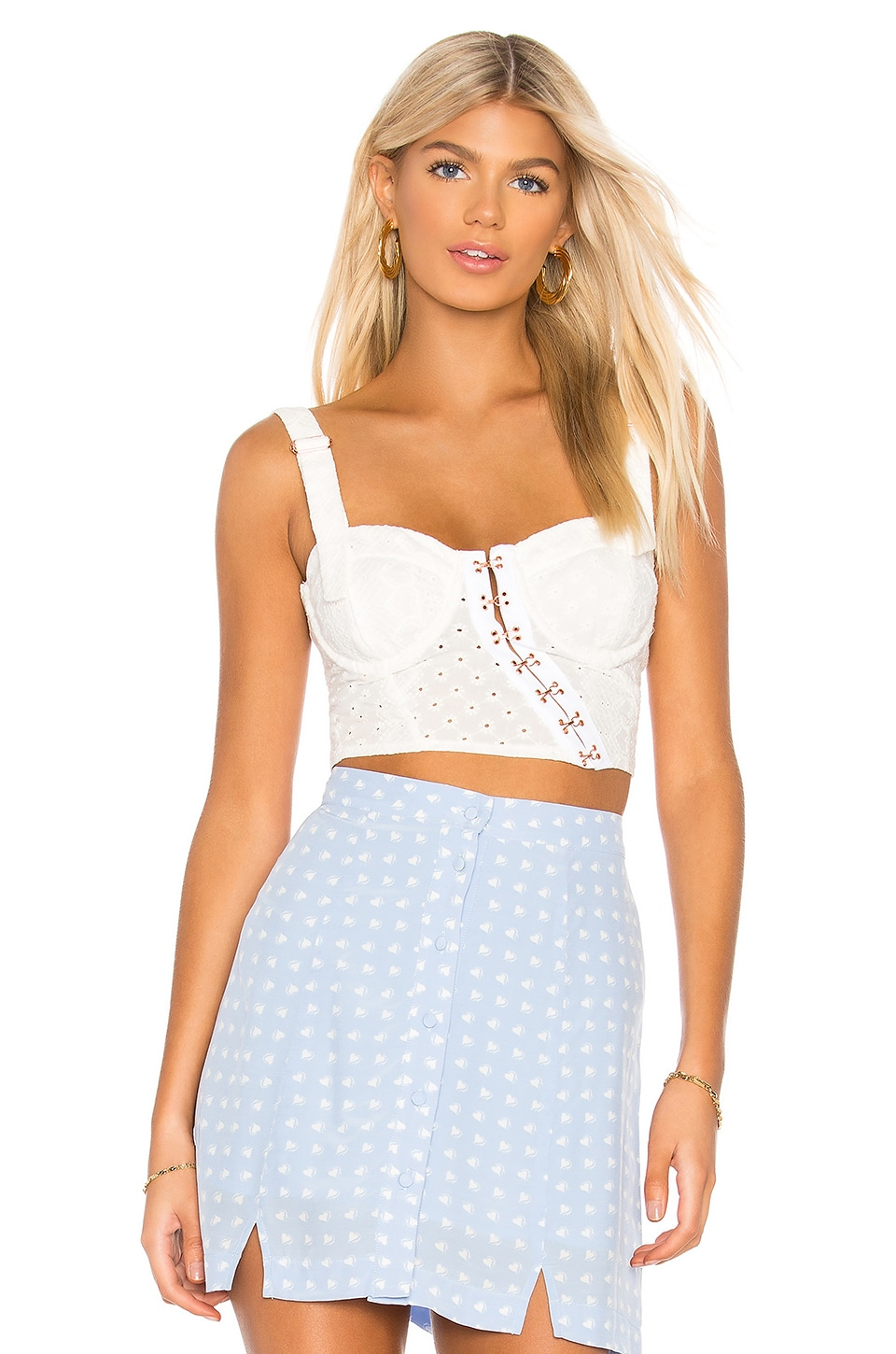 For Love & Lemons Charlotte Eyelet Crop Top in White Hearts