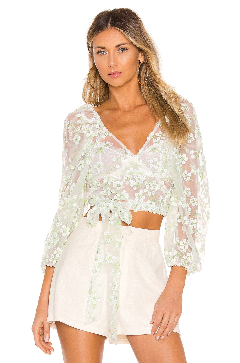 For Love & Lemons Eclair Crop Top en Ivory Floral