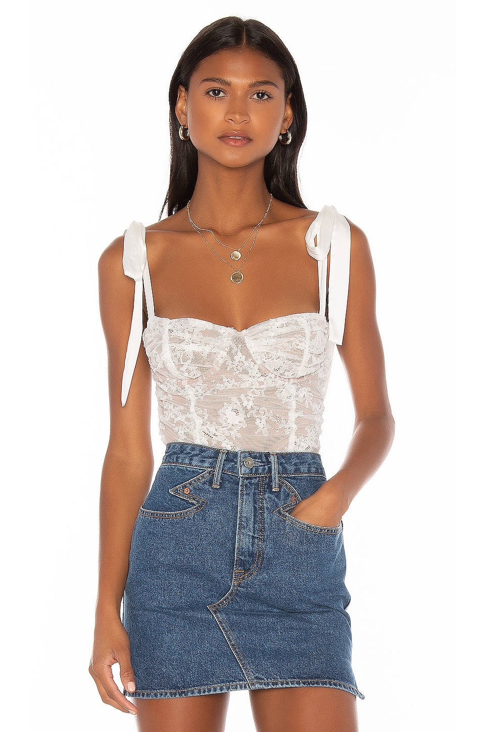 For Love & Lemons Dolly Bustier Top en White Lace