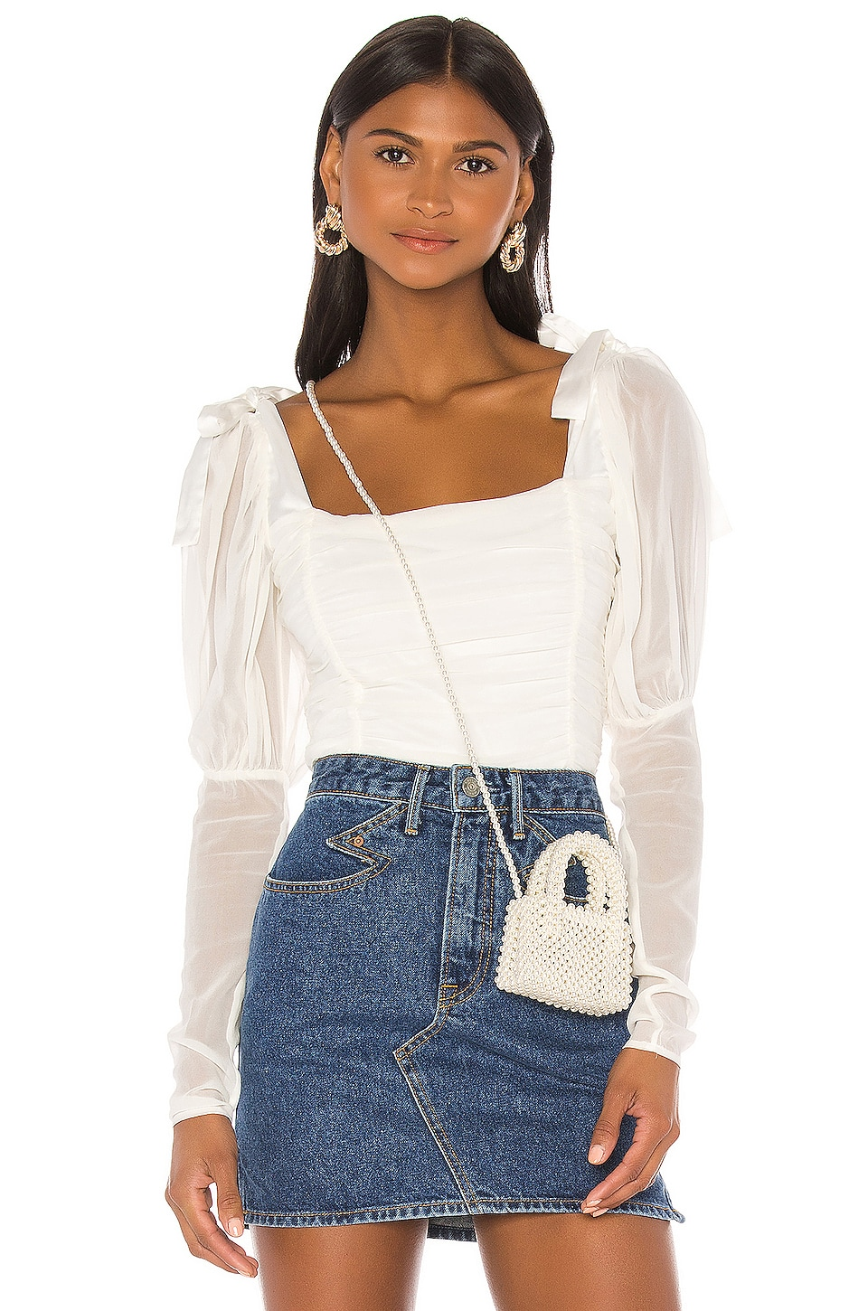 For Love & Lemons Prince Crop Top in White