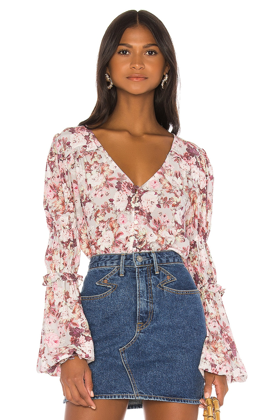 For Love & Lemons Eclipse Blouse en Country Floral