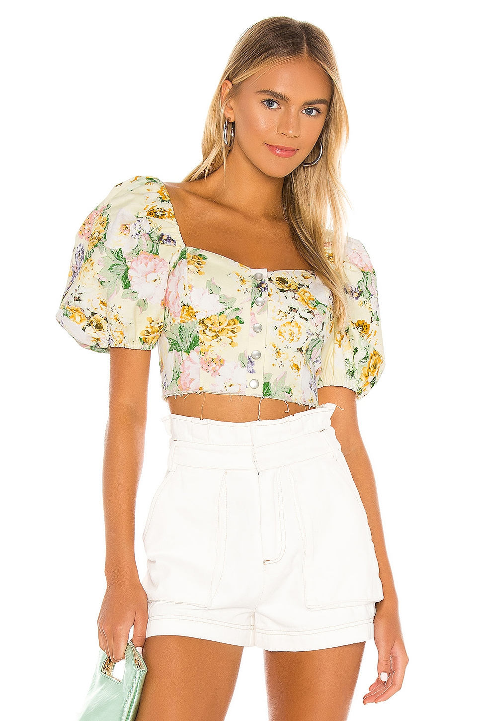 For Love & Lemons TOP CROPPED CHAMOMILE