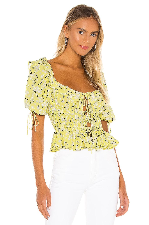 For Love & Lemons Chrysanthemum Blouse en Lemonade