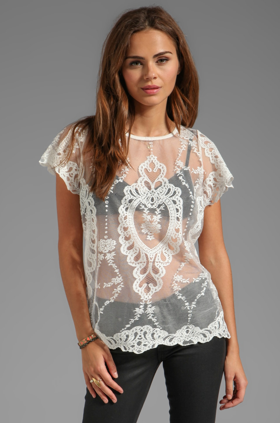 For Love & Lemons Vienna Unlined Lace Short Sleeve Blouse in Ivory