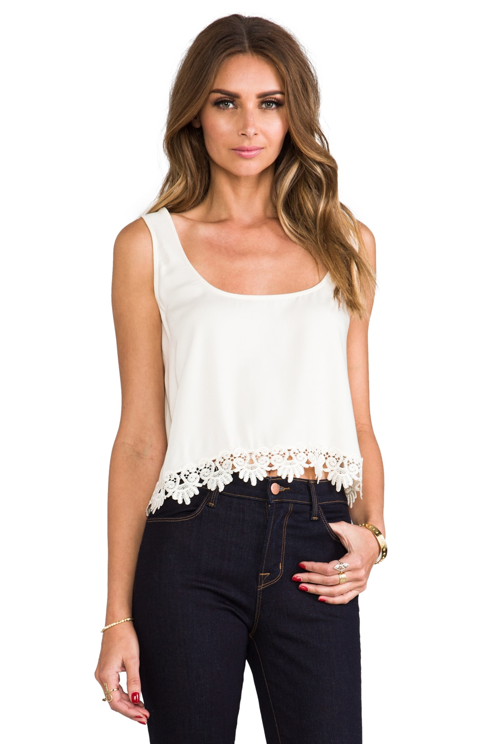 For Love & Lemons Loyal Crop Tank Top w/ Lace Trim in Ivory