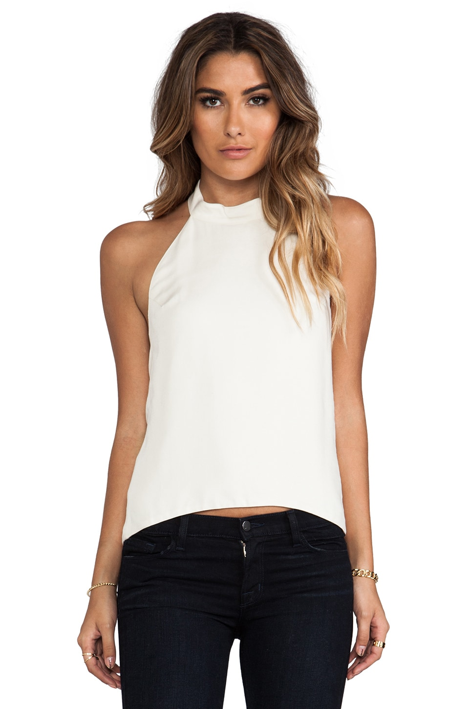 For Love & Lemons Amelie Button Collar Sleeveless Top in Ivory