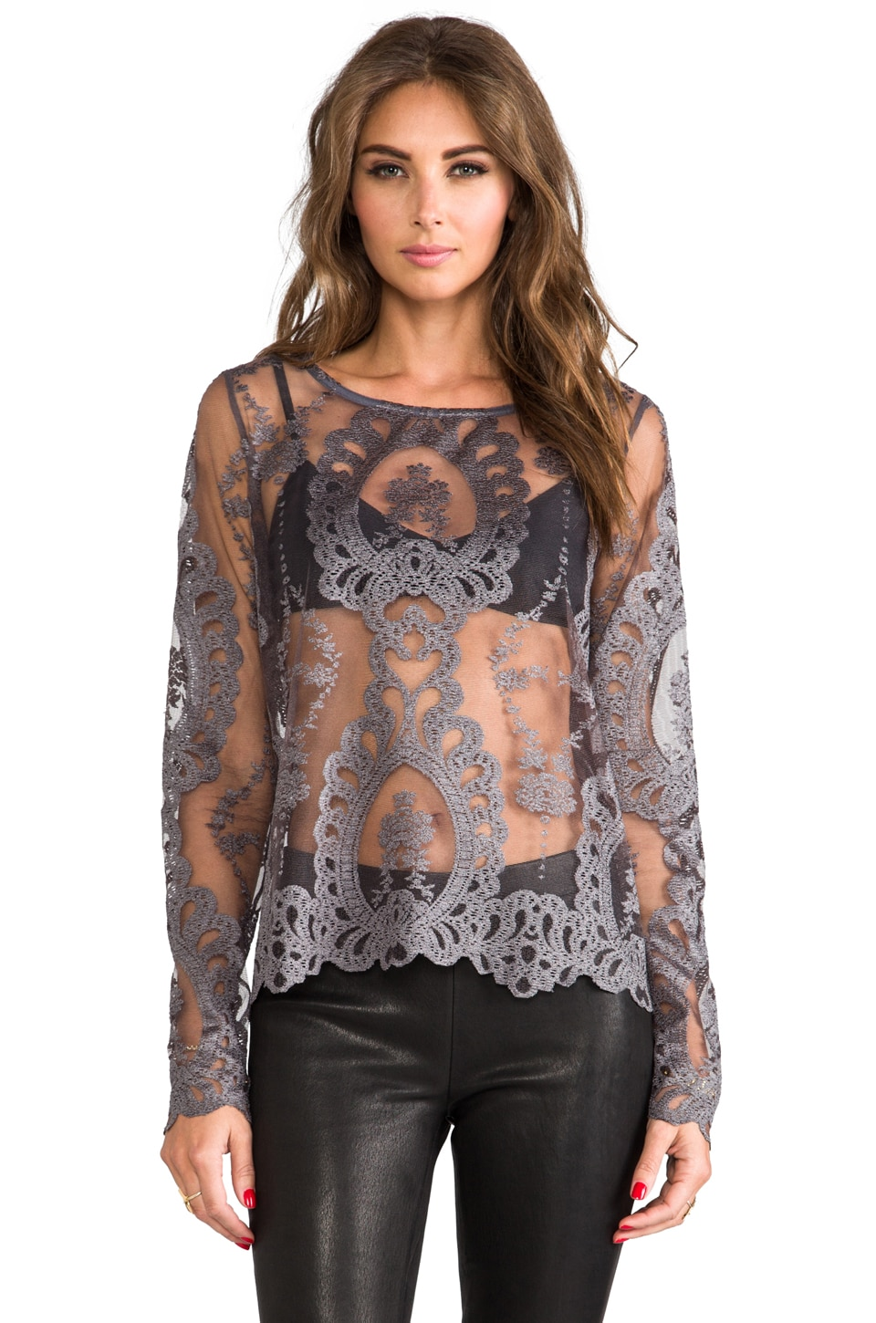 For Love & Lemons Forever Long Sleeve Lace Top in Grey