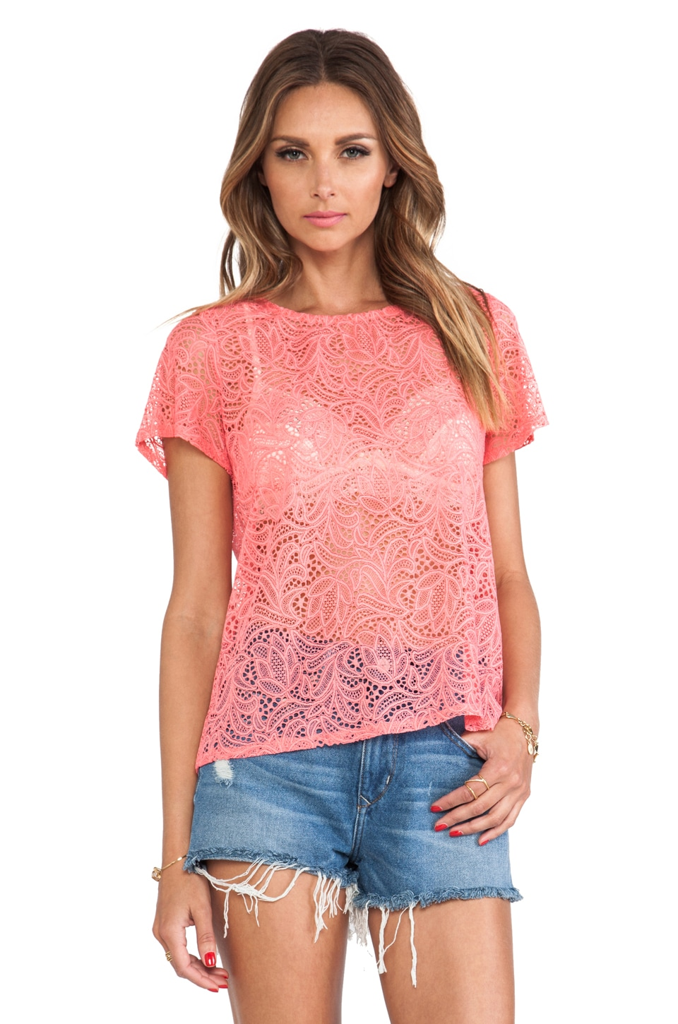 For Love & Lemons Baby Cakes Lace Top in Bubblegum Pink