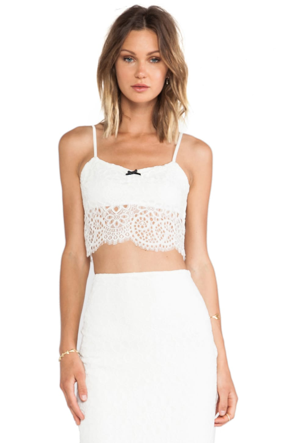 For Love & Lemons Holly Crop Top in Off White