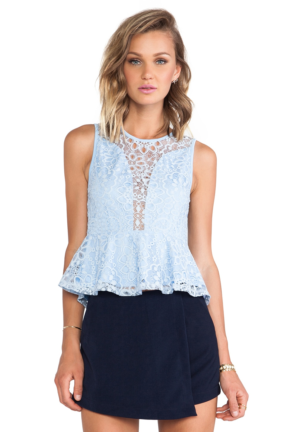 For Love & Lemons Lulu Top in Periwinkle
