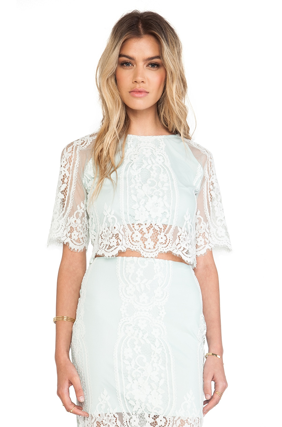 For Love & Lemons Wild Flower Crop Top in Mint