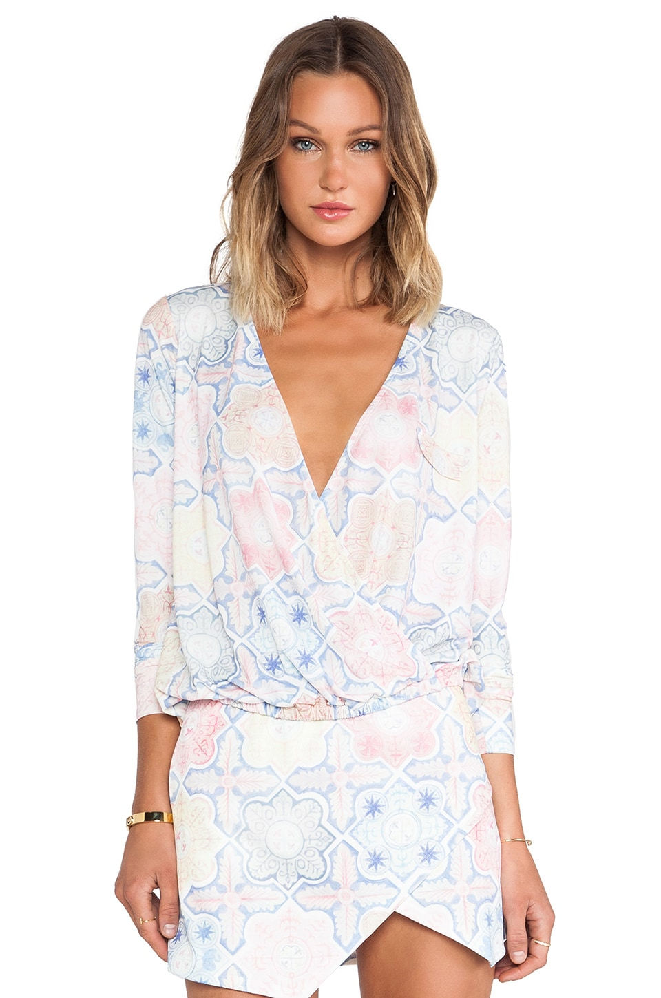 For Love & Lemons Ole Top in Tile Print