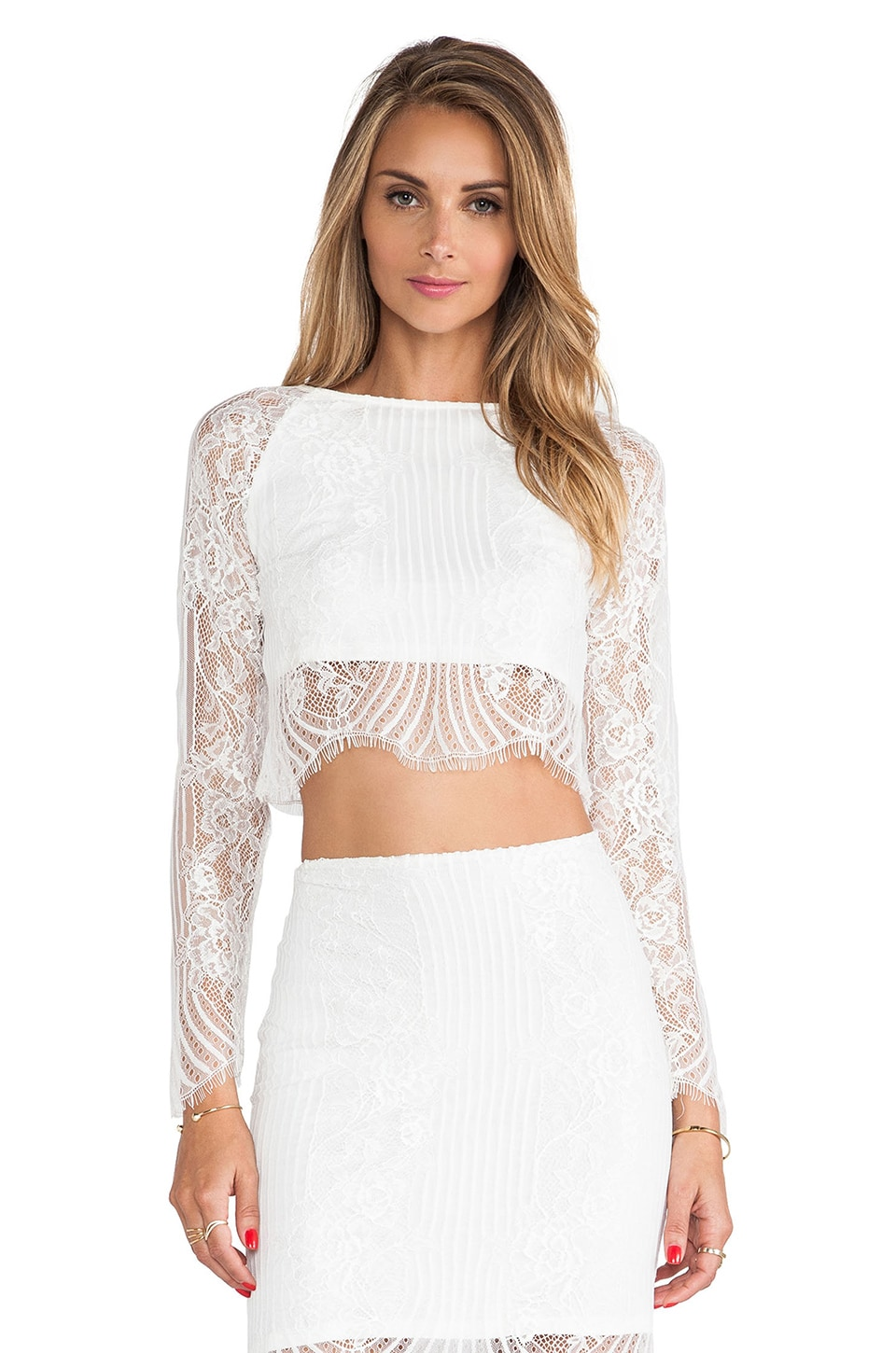 For Love & Lemons Lolo Crop Top in White