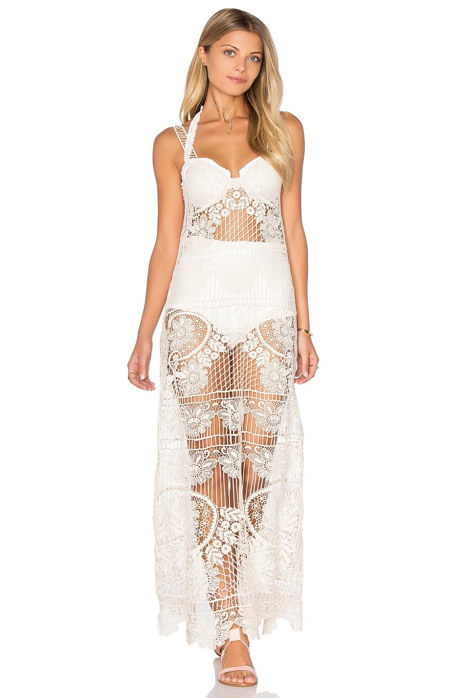 For Love & Lemons Maldives Crochet Dress in Ivory