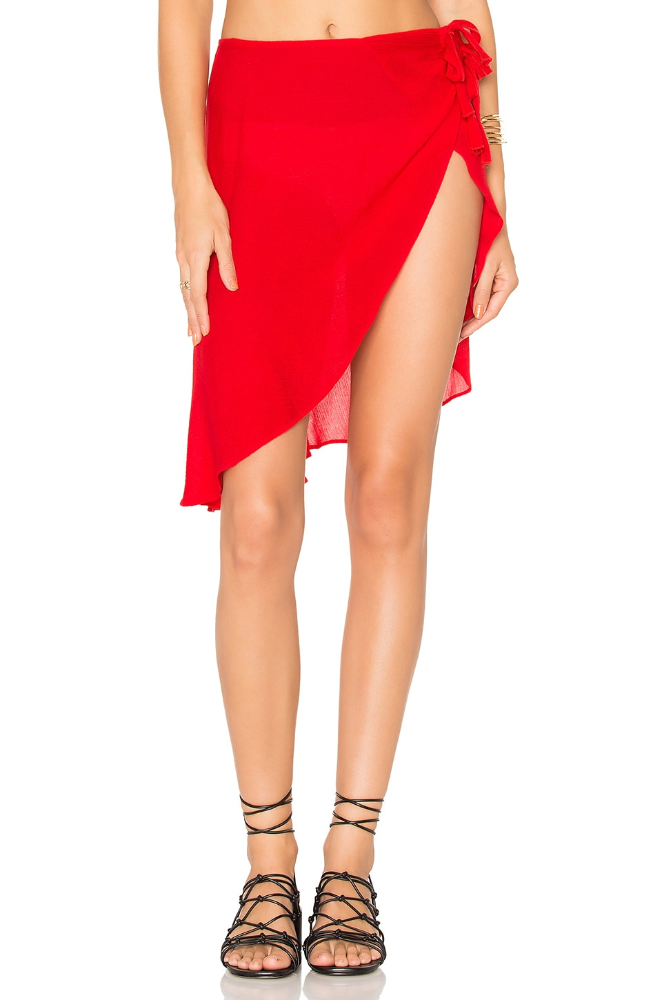 For Love & Lemons Toledo Tie Sarong in Chili Pepper