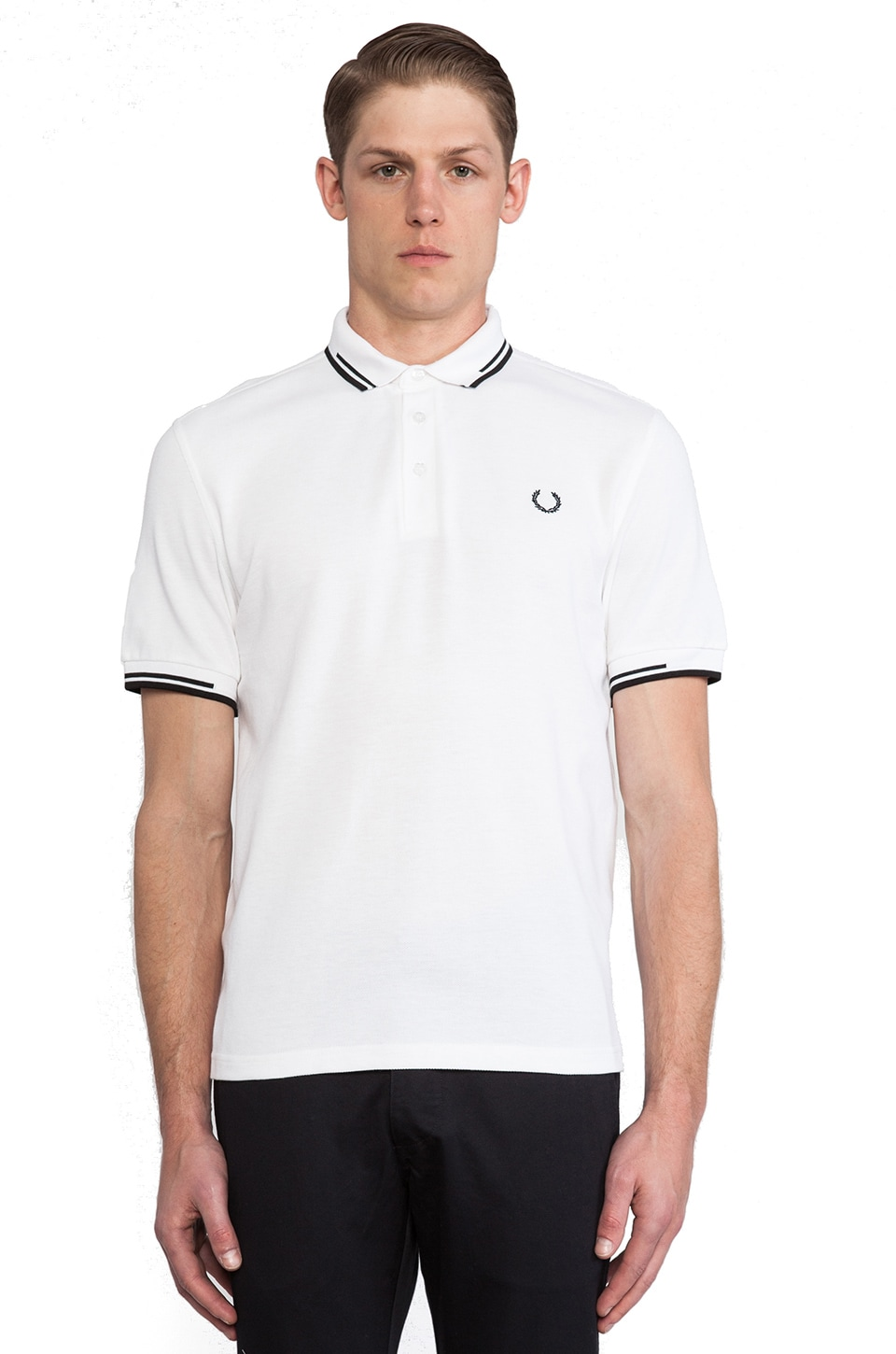 Fred Perry Laurel Wreath Broken Twin Tipped Shirt in White &  Black & Black