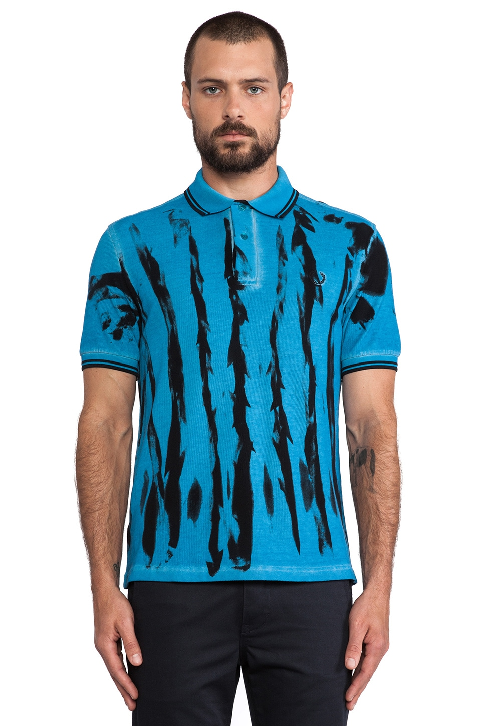 Fred Perry Laurel Wreath Acid Tie Dye Shirt in Acid Blue