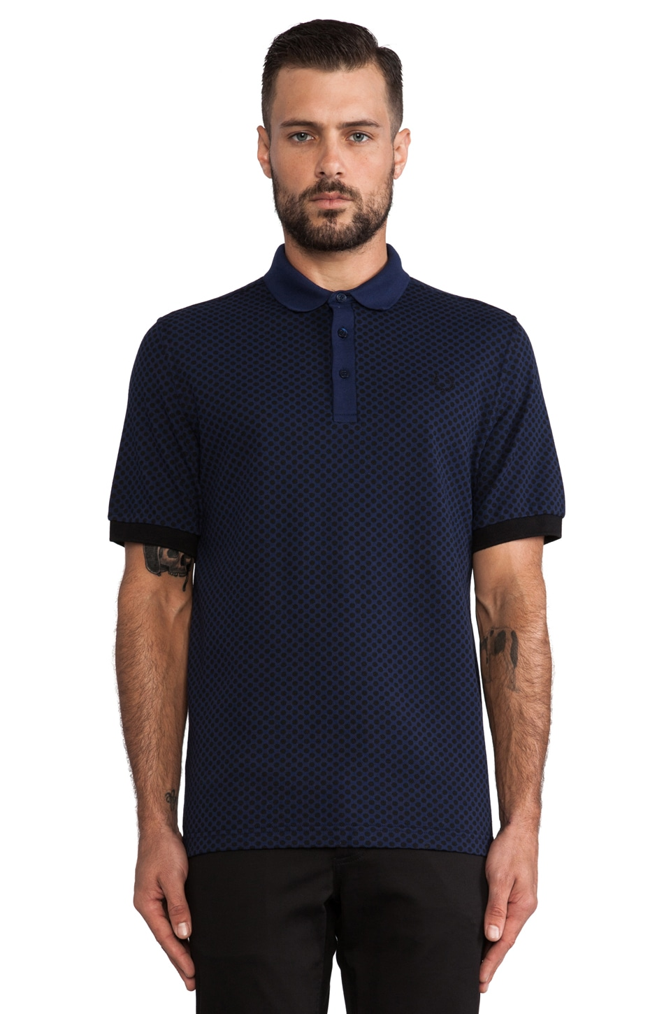 Fred Perry Laurel Wreath Industrial Dot Shirt in French Navy