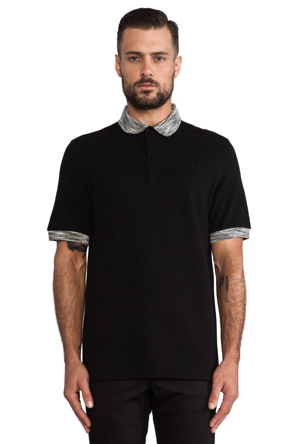 Fred Perry Laurel Wreath Misregistered Tipping Shirt in Black