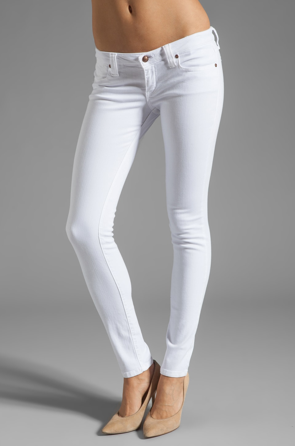 Frankie B. Jeans Sweet Bow Skinny in White