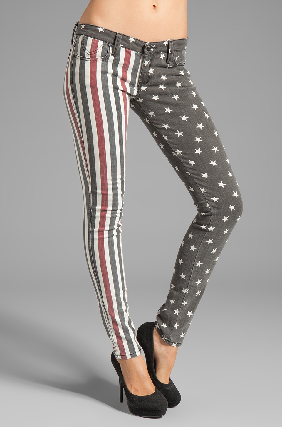 Frankie B. Jeans Stars and Stripes Skinny in Black/Red
