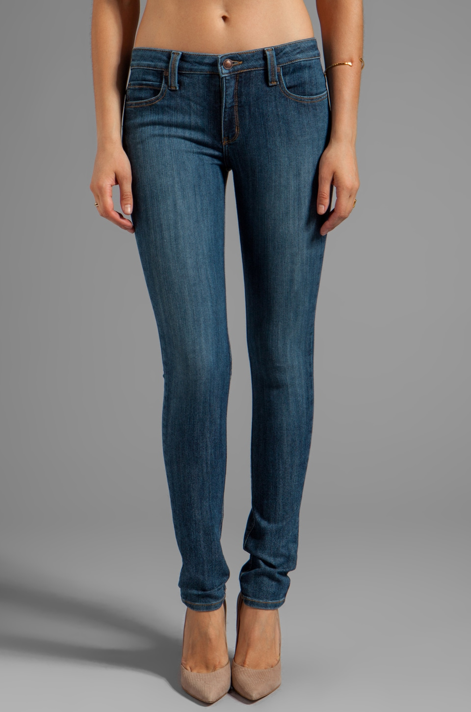 Frankie B. Jeans Perfect Mid Rise Skinny in Venus Blue