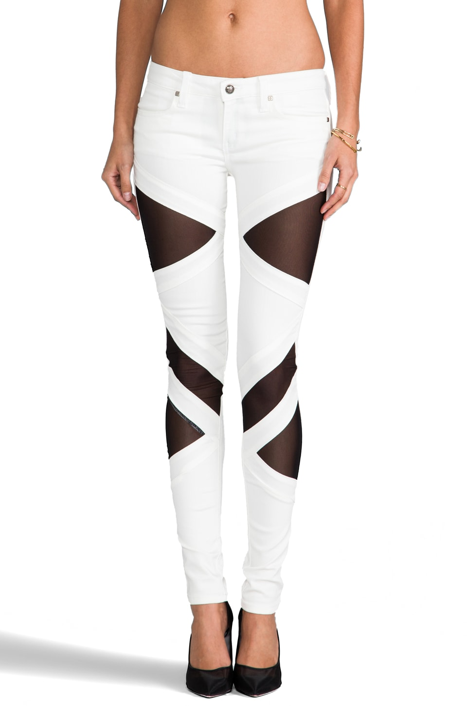 Frankie B. Jeans EXCLUSIVE Bondage Skinny in White/Black