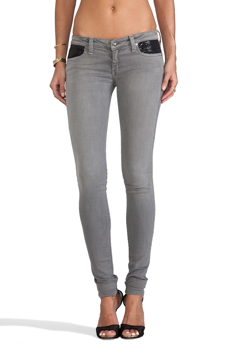 Frankie B. Jeans Serpentine Jegging in Silver