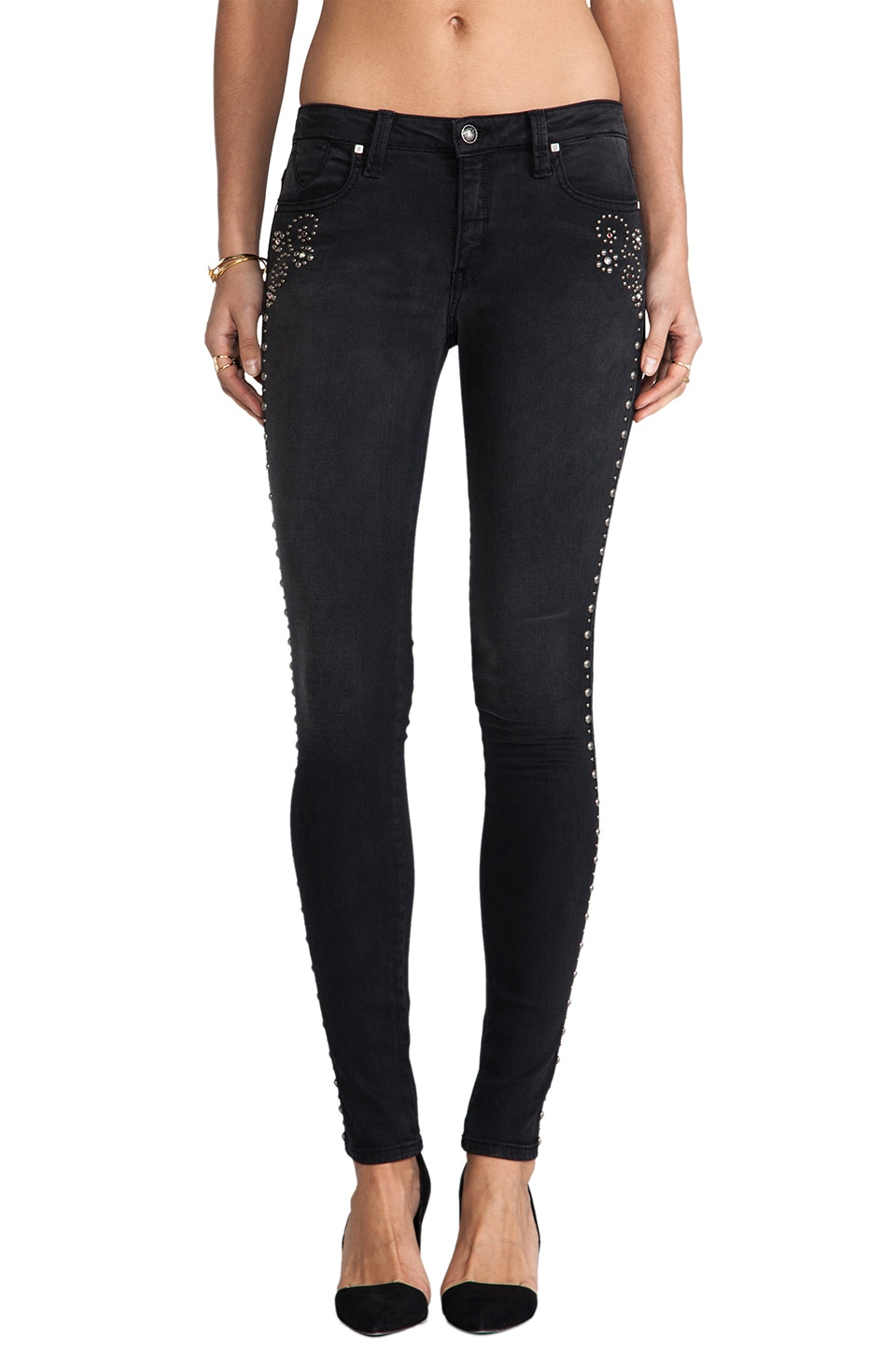 Frankie B. Jeans Nevada Stud Skinnies in Black