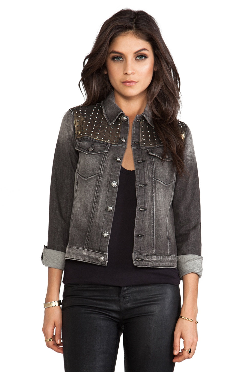 Frankie B. Jeans Armanda Denim Jacket in Dirty Black | REVOLVE