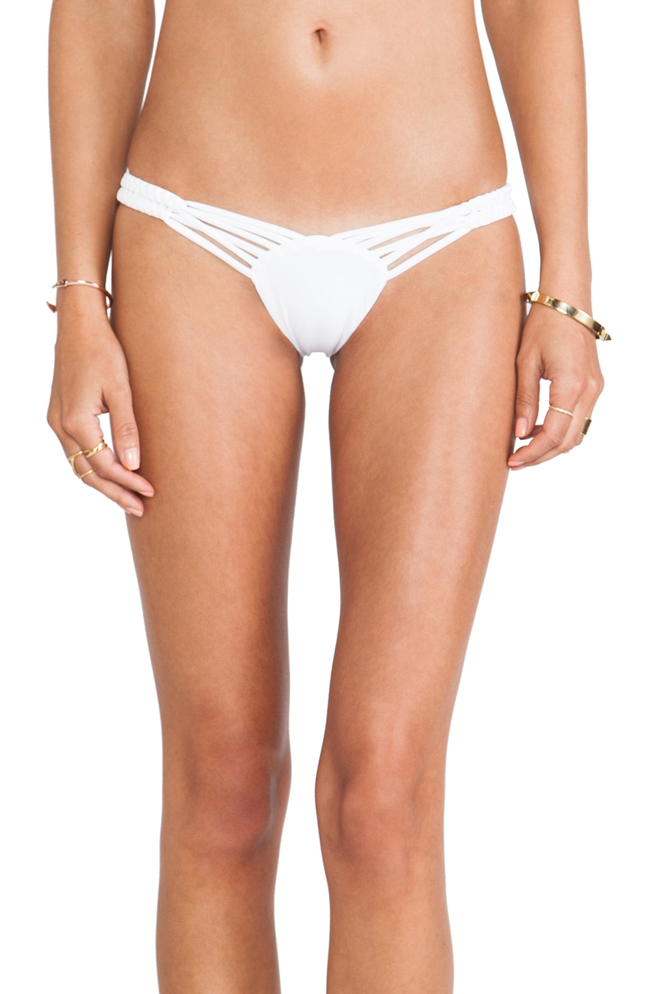 Frankies Bikinis Mary-Jane Seamless Twisted Double Braided Side Bottom in White