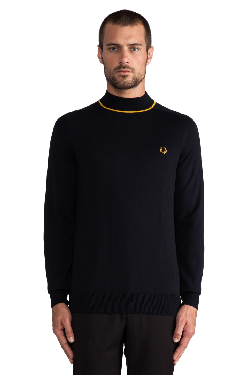 Fred Perry Tipped Turtle Neck in Navy