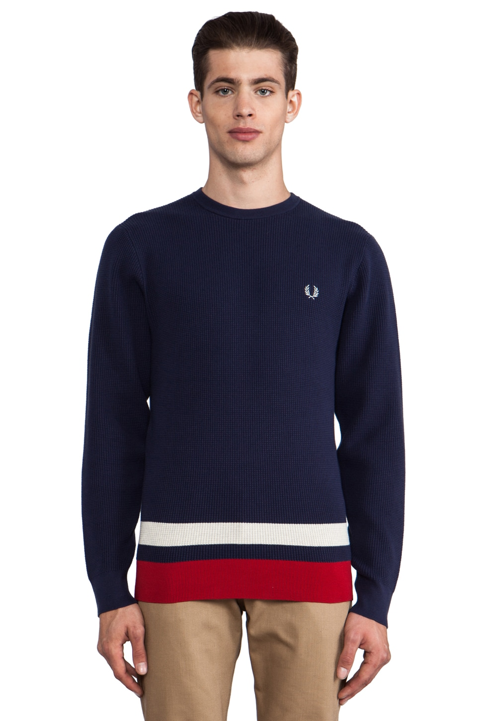 Fred Perry Pullover Sweater in Carbon Blue/Oatmeal/Blood